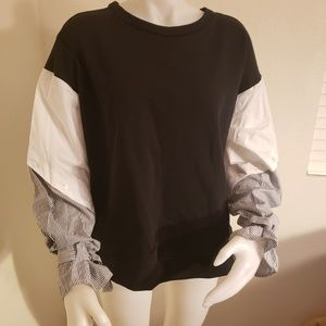 Nicole Miller New York womens mixed media top